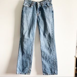 J Crew Straight Button Fly Denim Jeans 4 Tall